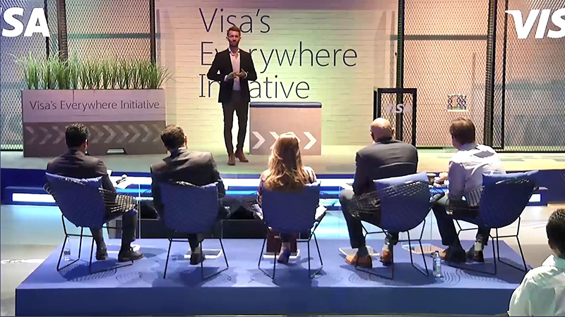 Founder and CEO Craig Buchan from Qpal pitching their winning idea at the Visa's Everywhere Initiative 2017 Middle East and North Africa Finals.